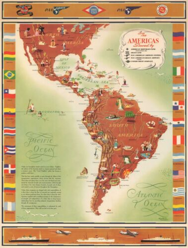 1949 Kenneth Thompson Pictorial Advertising Map of the Americas