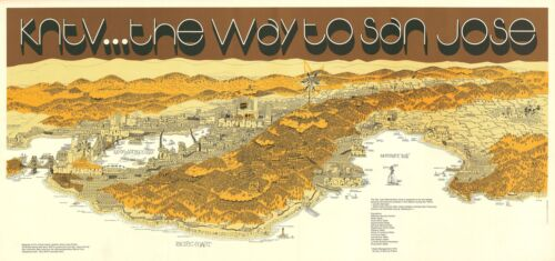1974 Lamm Pictorial Bird's Eye View Map of the San Francisco Bay Area