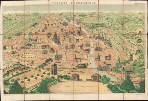 1900 Tarchi and Pineider Pictorial City Map or Plan of Florence, Italy