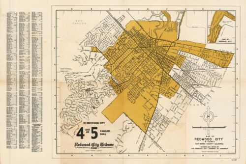 1948 Redwood City Tribune Map of Redwood City and its Vicinity