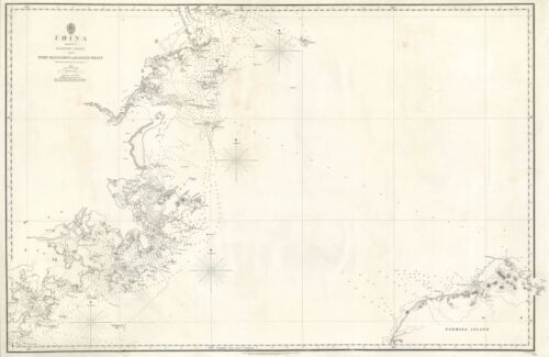 1849 Collinson / Admiralty Chart or Map of Fujian and Taiwan (Formosa)