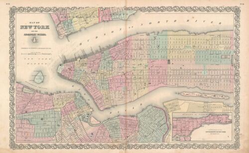 1855 Colton Map of New York City and Brooklyn (First Edtion!)