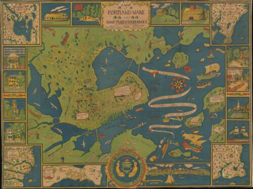 1928 Pictorial City Map of Portland, Maine