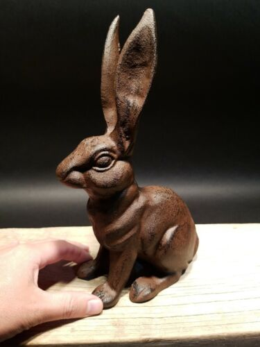 Antique Vintage Style Cast Iron Garden Table Door Stop Rabbit Hare