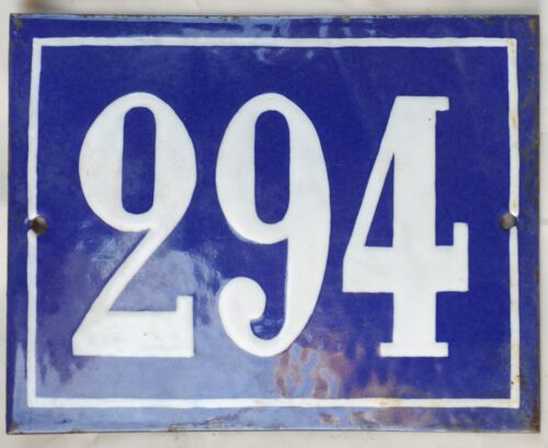 Large old French house number 294 door gate plate plaque enamel steel metal sign