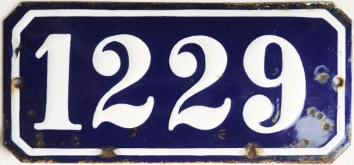 Old blue French house number 1229 door gate plate wall plaque enamel metal sign