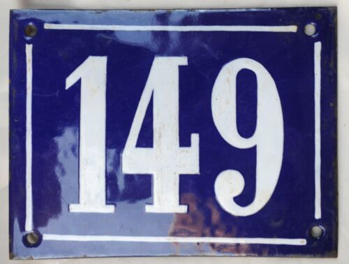 Large old French house number 149 door gate plate plaque enamel steel metal sign