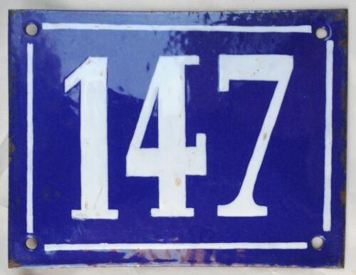Large old French house number 147 door gate plate plaque enamel steel metal sign
