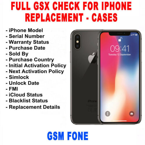 CHECK IMEI INFO IPHONE FULL GSX + REPLACEMENT + CASE GSX