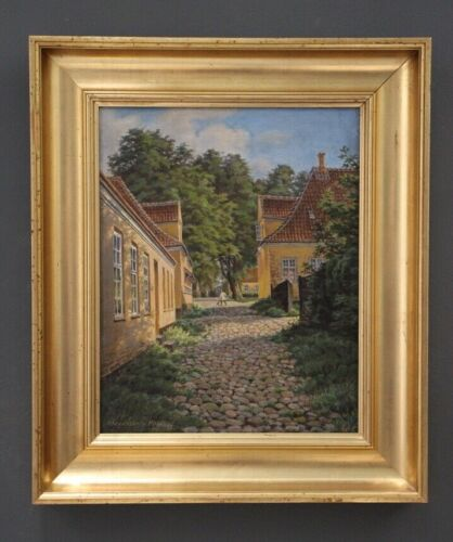 Danish oil painting on canvas Royal hunting lodge Copenhagen antique gilt framed