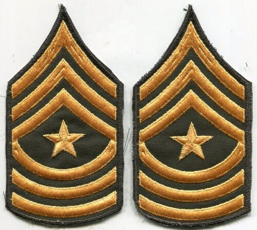 US Army Sargent Major Stripes Arm Patch Green & Gold Cut Edge PairPatches - 36078