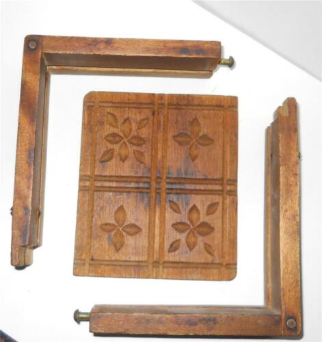 ANTIQUE Primitive Carved Box Butter Mold Dovetail Corners W/Latches Flowers