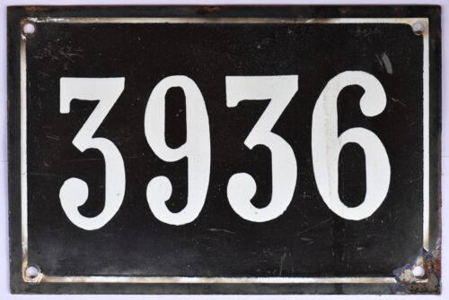 Large old black French house number 3936 door gate wall plate enamel metal sign