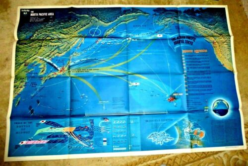 VINTAGE GIANT ILLUSTRATED MAP WWII JAPAN NORTH PACIFIC AREA SHIPS ON FIRE PLANES
