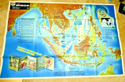 VINTAGE GIANT ILLUSTRATED MAP WWII SOUTH CHINA SEA KOREA SHIPS ON  FIRE PLANES