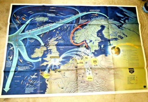 VINTAGE GIANT ILLUSTRATED MAP WWII NORTH SEA EUROPE  SHIPS ON  FIRE PLANES