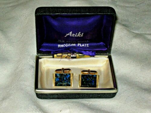 A Pair of  M Deriant Imitation Jewellery Gold Plated Bloodstone Mens Cufflinks