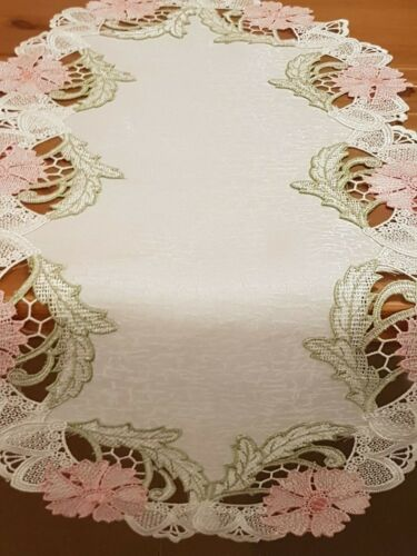 (SetOf2)  Rose Pink/Green Lace 35*70cm T/Runners