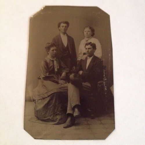 Tintype Photo We Are Family Antique Photograph Vintage Tin Type
