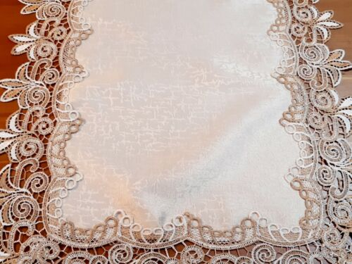 """(SetOf2) 40*90cm """"Camel Tone Lace Polyester LaceTable-Runner"""