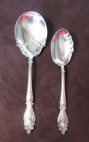 RAPHAEL Pair Serving Spoons ROCOCO Silverplate 1896 W Monogram on Backs