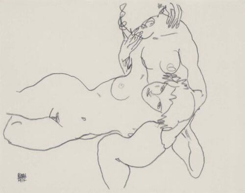 Egon Schiele Two Female Nudes Print 11 x 14  #3334