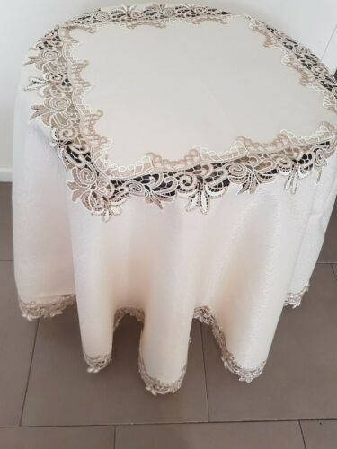 190*190cm ROUND Camel Lace Polyester Tablecloth