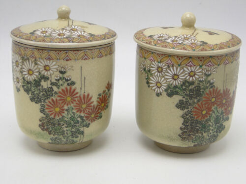 2 Old Satsuma Porcelain Covered Cups hand painted enameled floral pottery