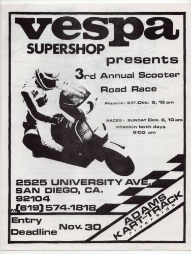 """1987 Racing Application: """"Vespa Supershop Presents 3rd Annual Scooter Road Race"""""""