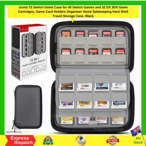 72 in 1 Game Cartridge Holder Organiser Carrying Case Nintendo Switch 3DS 2DS AU