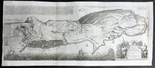 1728 Herman Moll Original Antique Map and View of Gibraltar - 2nd Spanish Siege
