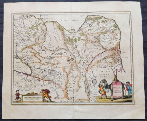 1639 Jansson Large Original Antique Map of Tartary China, Central Asia, Siberia