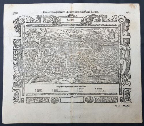 1598 Sebastian Munster Antique Map, Birds Eye View, The City of Tours, France