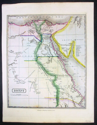 1840 Gellatly Large Antique Map of Egypt & River Nile - Beautiful hand colour