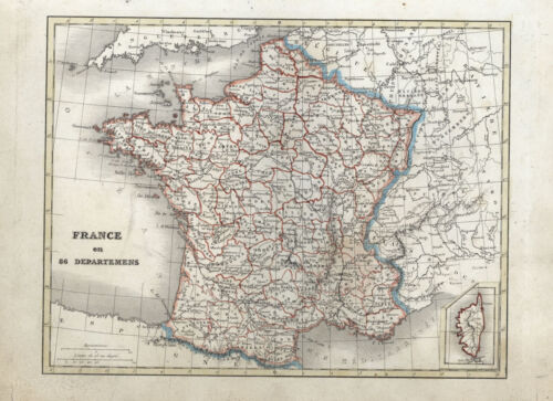 1820 Aaron Arrowsmith Antique Map of France in Departments
