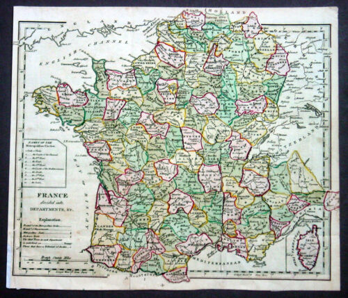 1805 Aaron Arrowsmith Antique map of France in Departments