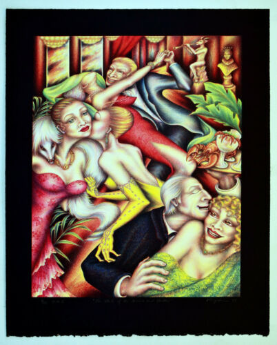 """ZARA KRIEGSTEIN """"THE CLUB OF THE DIVINE AND SHALLOW"""" hand colord lithograph"""