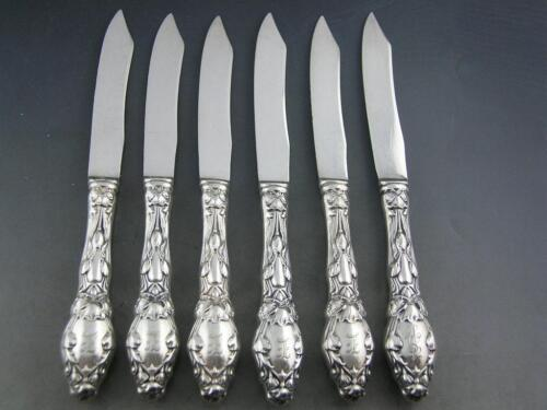 6 Sterling GORHAM Fruit Knives VIRGINIANA 1904 Art Nouveau floral