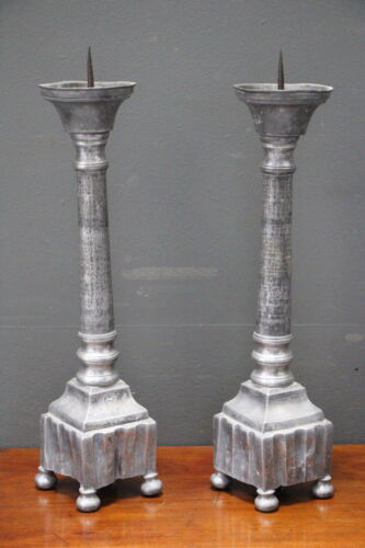 Tall pair heavy antique pewter baroque candlesticks candle prickets 18th century