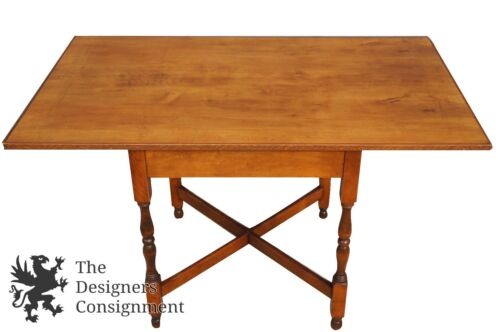 Early American Style Pine Table Game Breakfast Dining Library Pub Spindled Legs