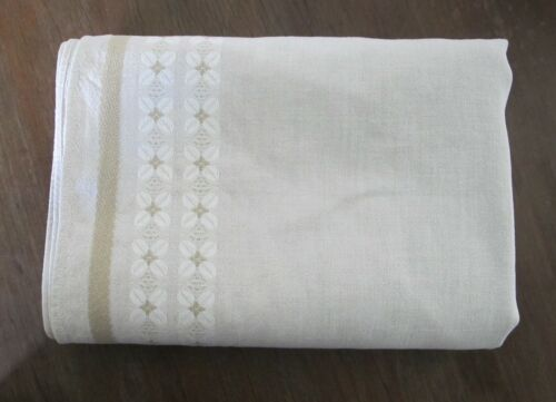 Pure LINEN 60s 70s Vintage TABLECLOTH Taupe Beige Mid century Retro Woven border