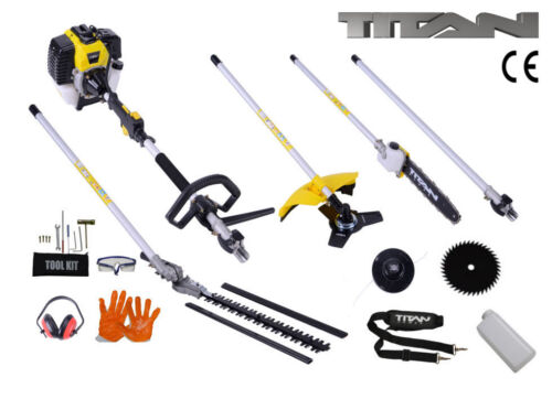 52cc 5 in 1 Hedge Trimmer Multi Tool Petrol Strimmer BrushCutter Garden Chainsaw <br/> FREE Safety Kit ✔ Over 2000 Sold ✔ 4.5 Star Review ✔ UK