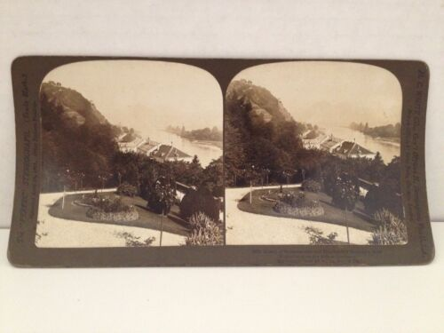 Stereoview Card 1902 Antique Photo Nonnenworth Drachenfels Germany H C White