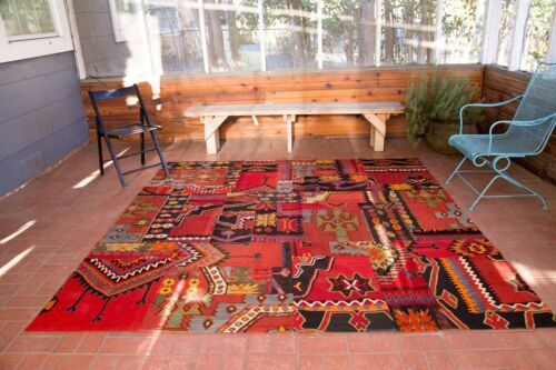 Vintage Fascinating Radiant Patched Kilim Eclectic Stylish - 8x8ft