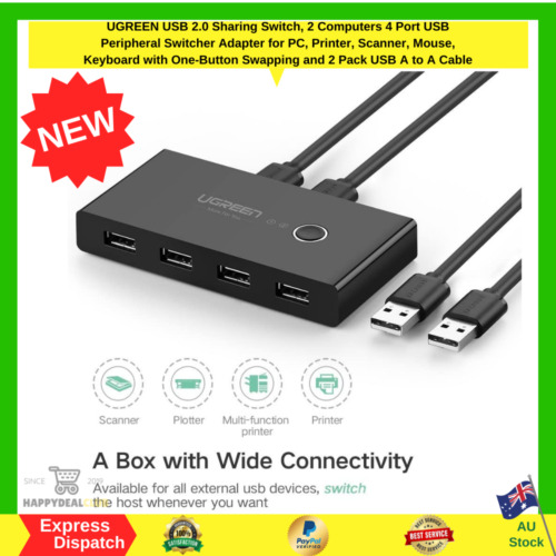 UGREEN USB 2.0 Sharing Switch 2 Computers 4 Port USB Peripheral Switcher Adapter