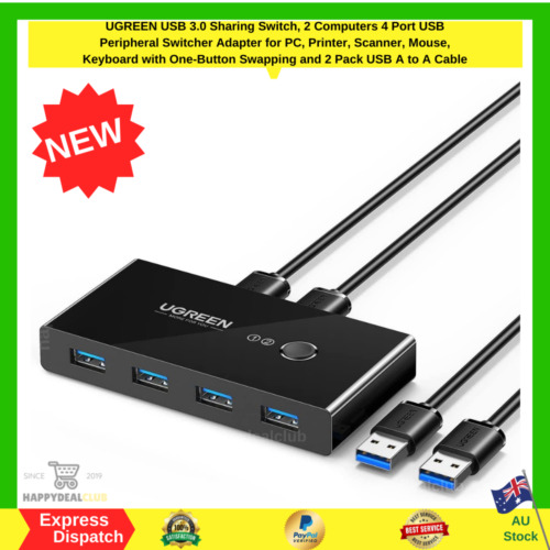 UGREEN USB 3.0 Sharing Switch 2 Computers 4 Port USB Peripheral Switcher Adapter
