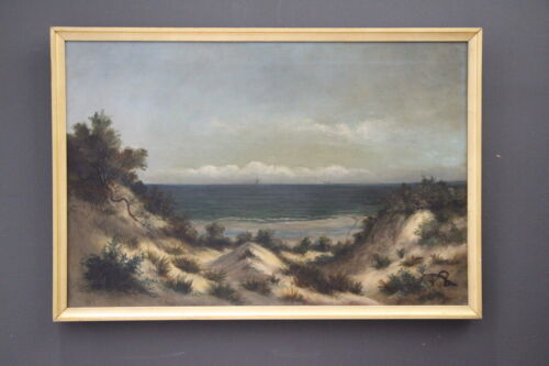 Large antique Georgian original oil painting Beachscape with Sailing Ships 1800s