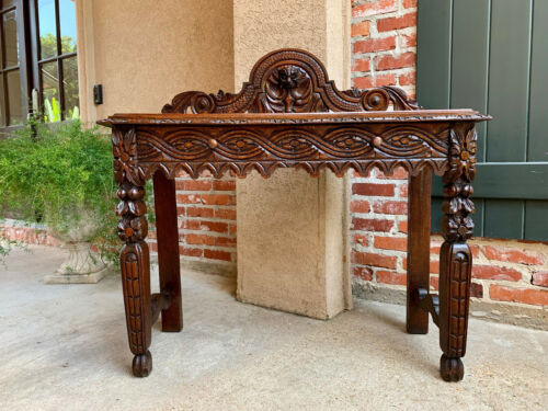 Antique English Carved Oak HALL Foyer Sofa TABLE Renaissance Sideboard Console