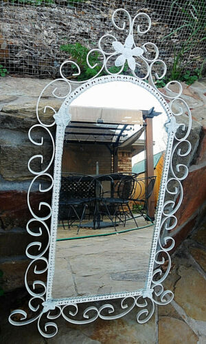 "33"" x 16"" Vtg Wrought Iron White Metal Wall Hanging Arch Mirror Ginger bread Scr"