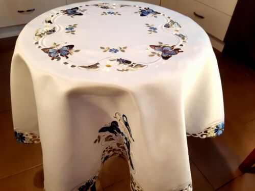 """150cm Round 100% Heavy-Duty """"Embroidered-Blue Butterfly"""" Polyester Tablecloth"""
